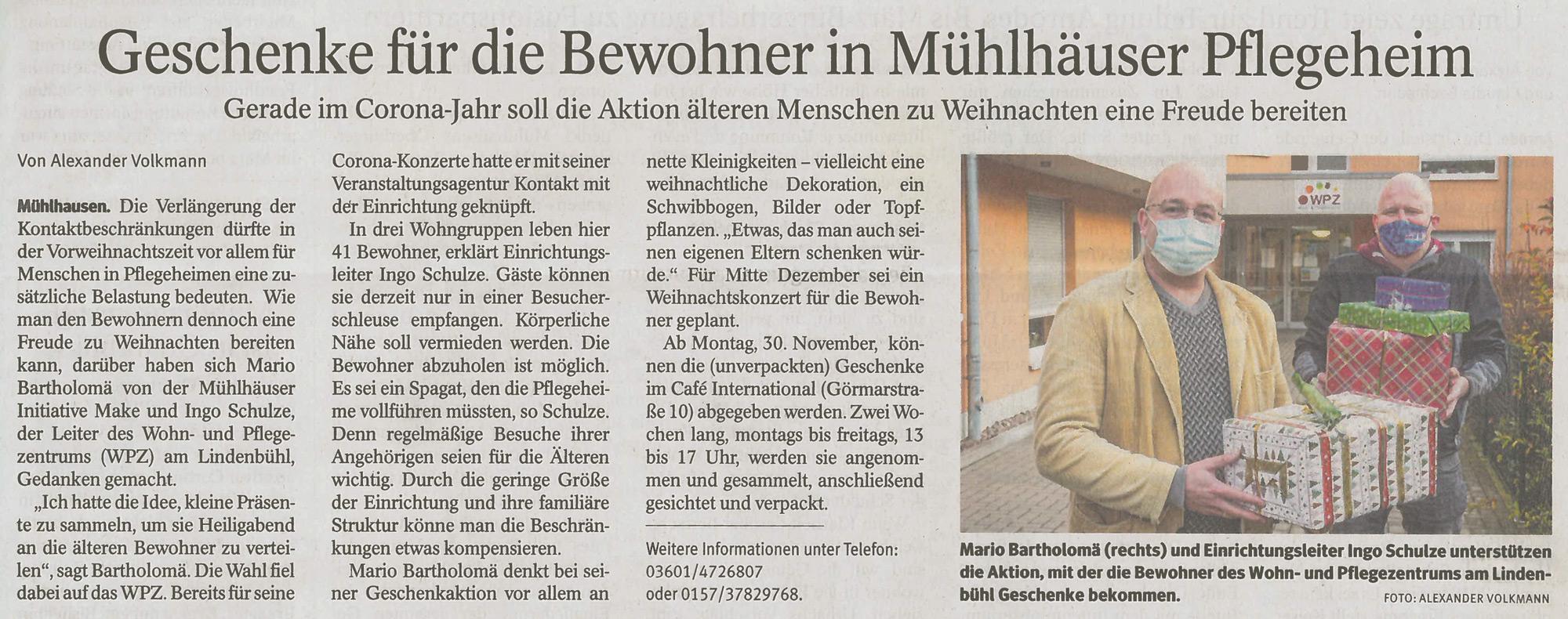 Bescherung im Pflegeheim Mühlhausen
